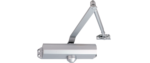 Adjustable power size 1-5 door closer, rack & pinion with link arm