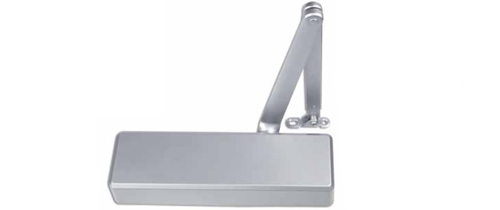 Adjustable power size 1-6 door closer, rack & pinion with link arm